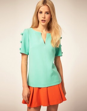 Image 1 of ASOS Shell Top With Bow Sleeve