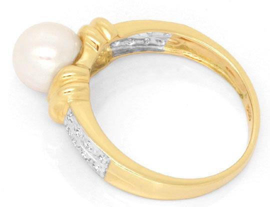 Foto 3, Diamantring Spitzen-Akoya-Zuchtperle Gelbgold Shop Neu!, S6994