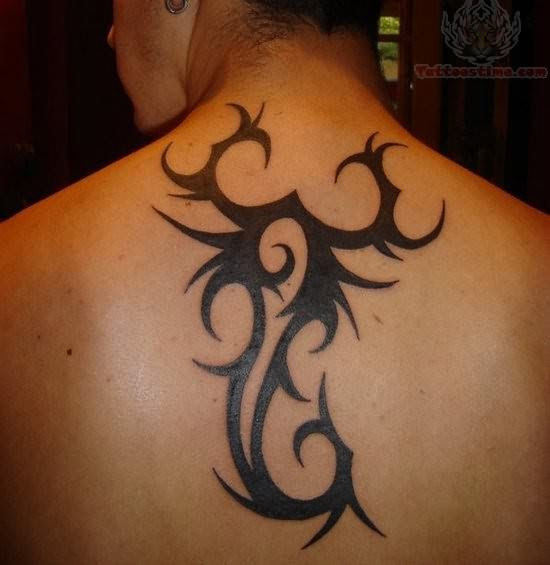 Tribal Style Scorpion Tattoo On Back