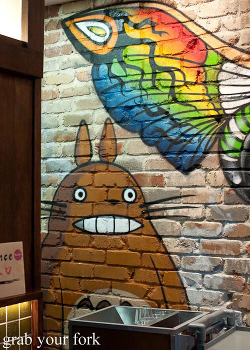 totoro graffiti art at yebisu izakaya, regent place sydney