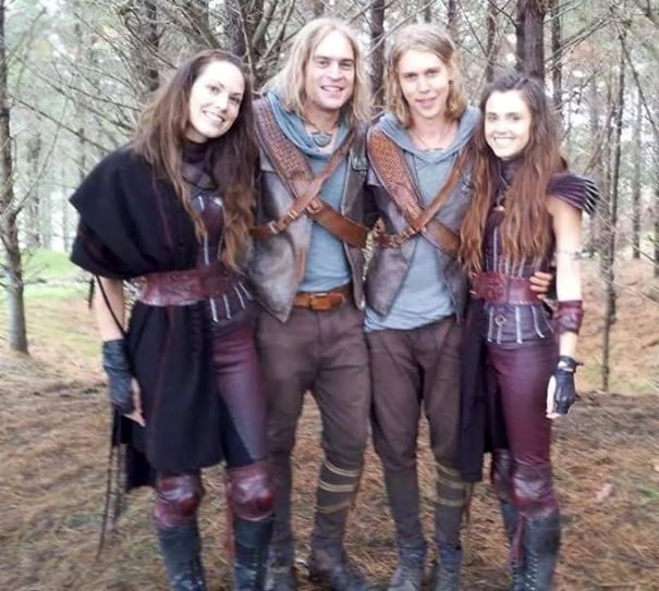 Austin Butler And Poppy Drayton With Their Stunt Doubles On The Set Of The Shannara Chronicles