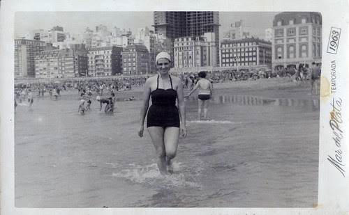By the sea 1963 One girl in water