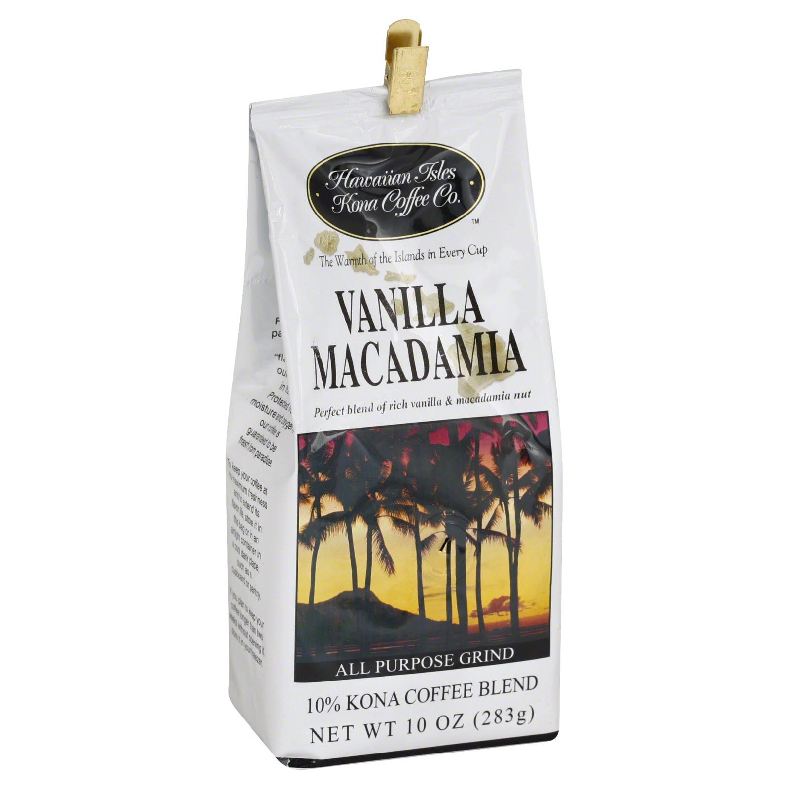 Hawaiian Isles Coffee, All Purpose Grind, 10% Kona Coffee Blend, Vanilla Macadamia, 10 oz (283 g ...