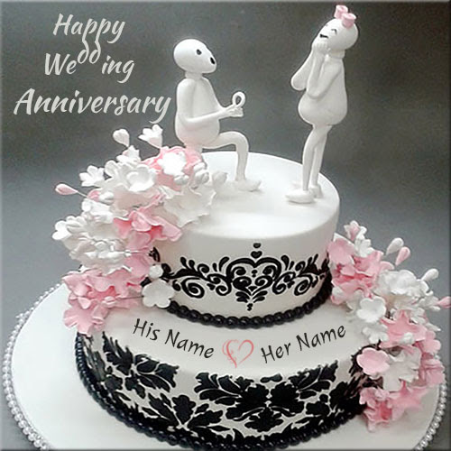 Write Your Name On Anniversary Cakes