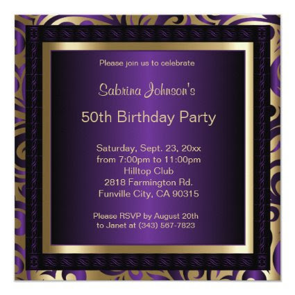 50th Birthday Party | Purple Metallic & Gold 5.25x5.25 Square Paper Invitation Card