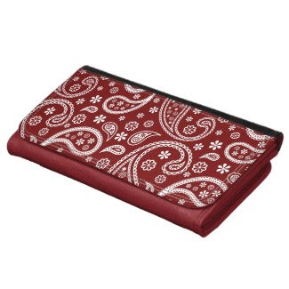 Maroon Red Paisley Pattern - Trendy and Elegant Leather Wallet