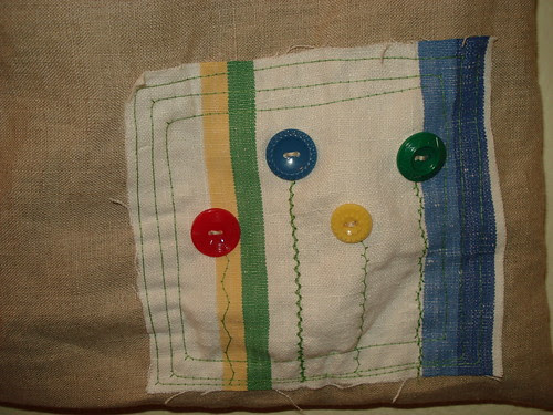 patch on tea towel tote