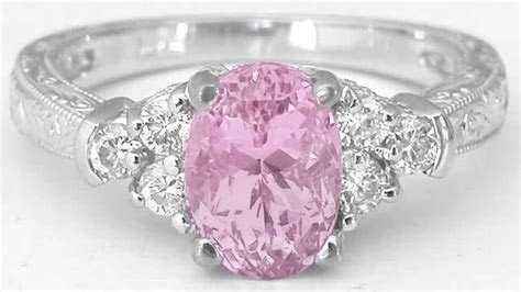 Pastel Oval Pink Sapphire and Diamond Engagement Ring and