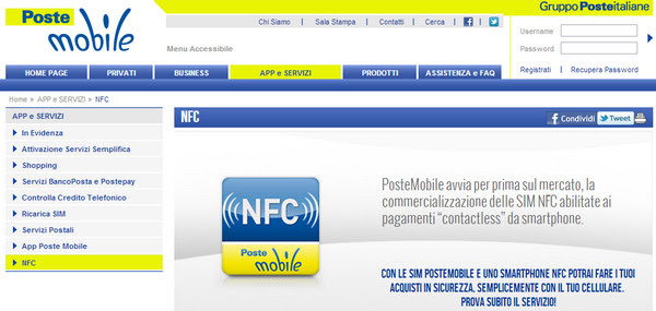 NFC PosteMobile Contactless