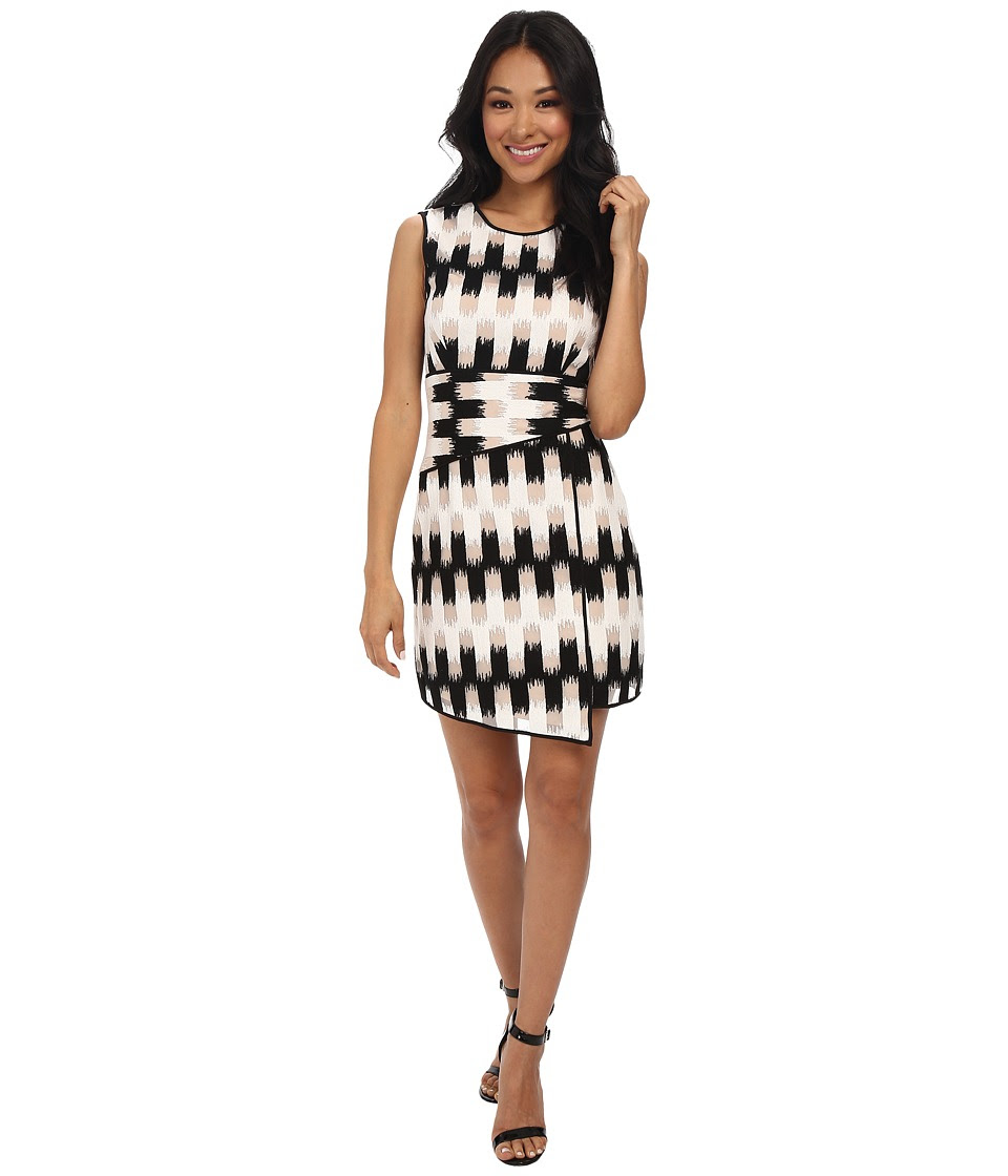 BCBGMAXAZRIA - Alivia Wrap Waist Asymmetrical Hem Dress (Black\/White) Women's Dress