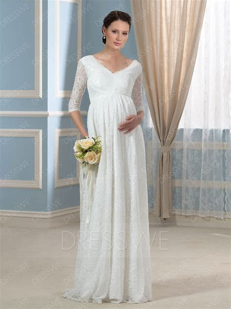Charming V Neck Half Sleeves Lace A Line Maternity Wedding