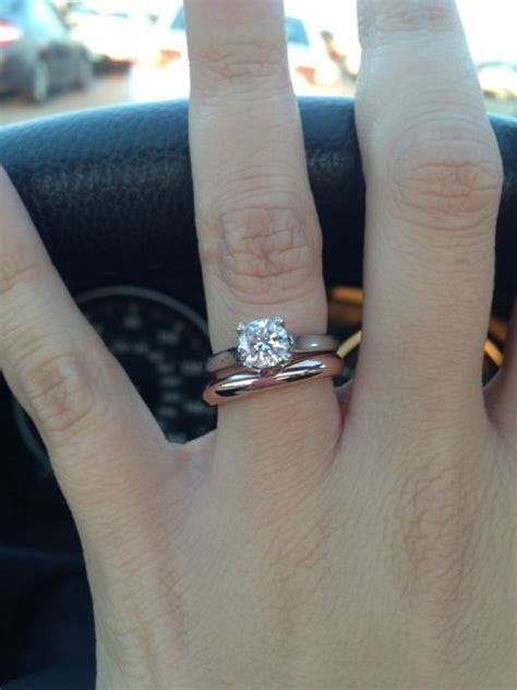 solitaire with plain rose gold band   Engagement rings