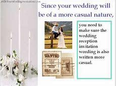 Tips For A Informal Wedding Reception Invitation Wording   YouTube