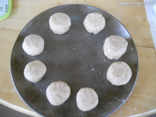 First Biscuits Ready for Wood Burning Cook Stove Oven