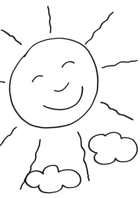 Kostenlose Malvorlage Sommer: Sonne ausmalen zum Ausmalen