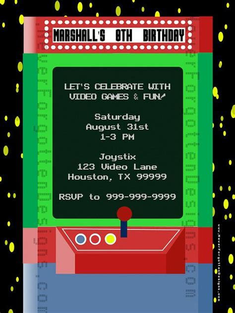 Arcade Birthday Invitations Printable