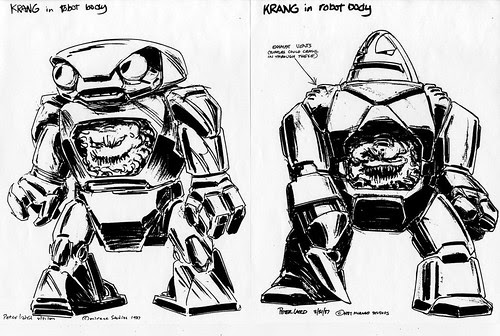 Early 'Krang's Android Body' concepts by Peter Laird [[ Courtesy of Steve Murphy ]] (( 1987 ))