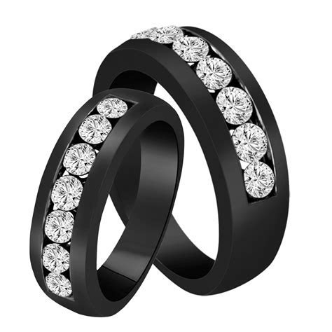 His & Hers Wedding Bands, Diamond Matching Rings, Couple