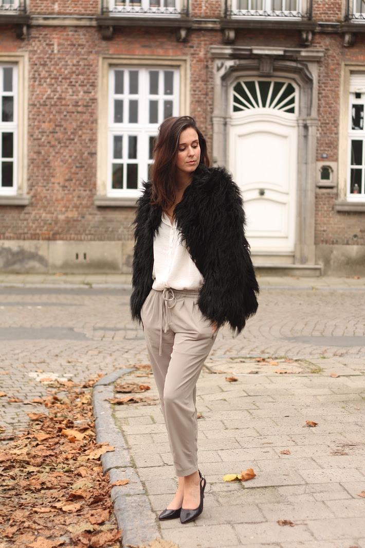 Black Shaggy Faux Fur Coat, Elegant Outfit