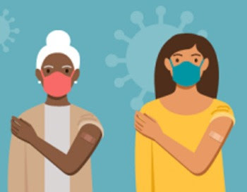 Illustration of women both with a mask and band aide on their arm