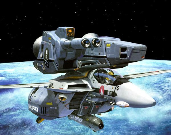 An illustration of a space-borne Skull Leader, encased in armor, from ROBOTECH.