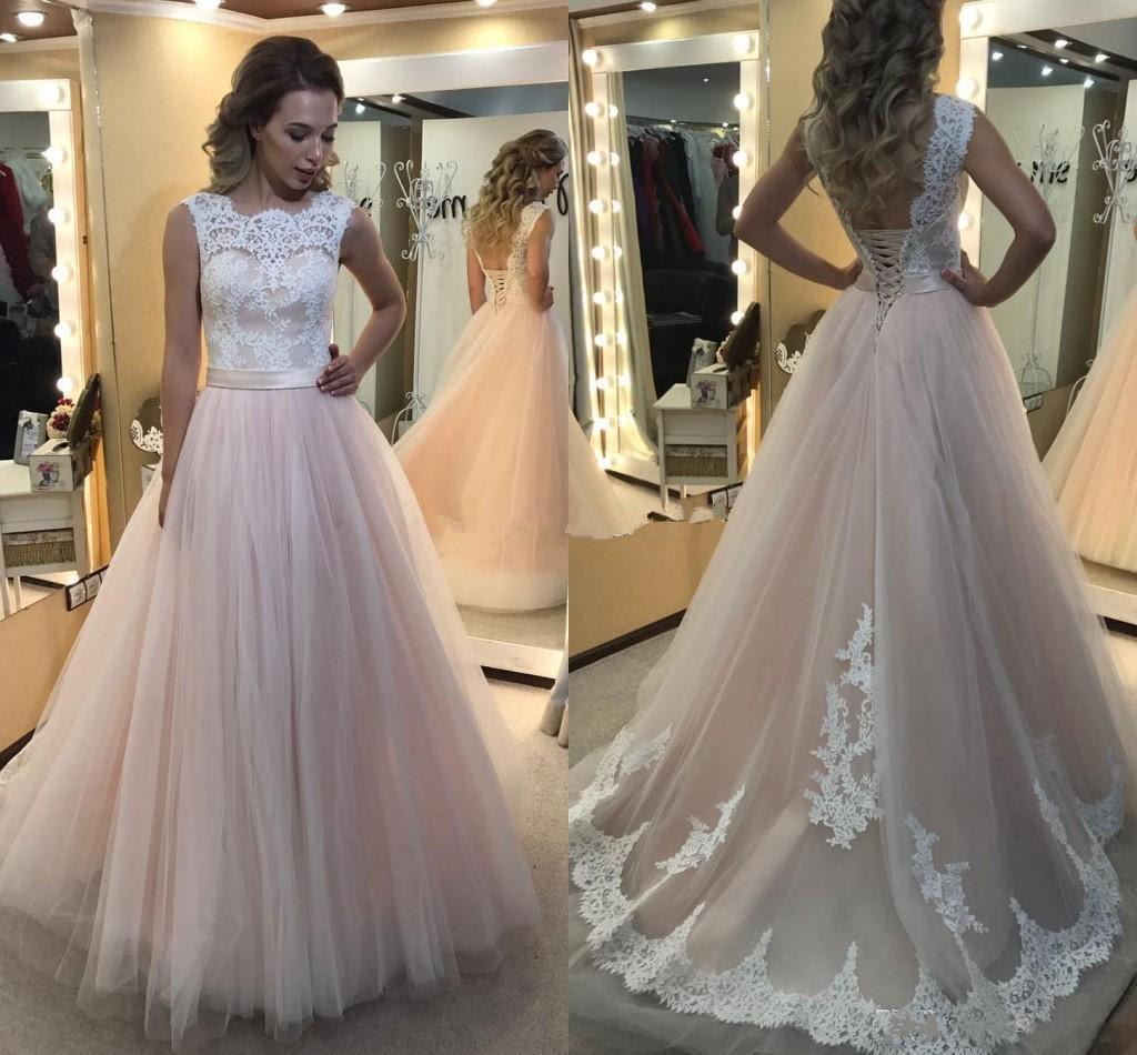 2017 new a line girls prom dresses sheer jewel neck