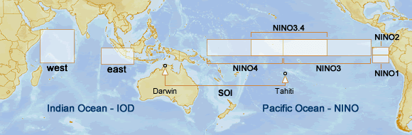Map of NINO and IOD (DMI) regions