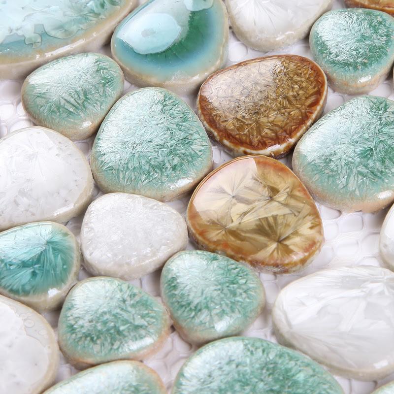 pebble porcelain mosaic tile glazed ceramic tiles bathroom ...