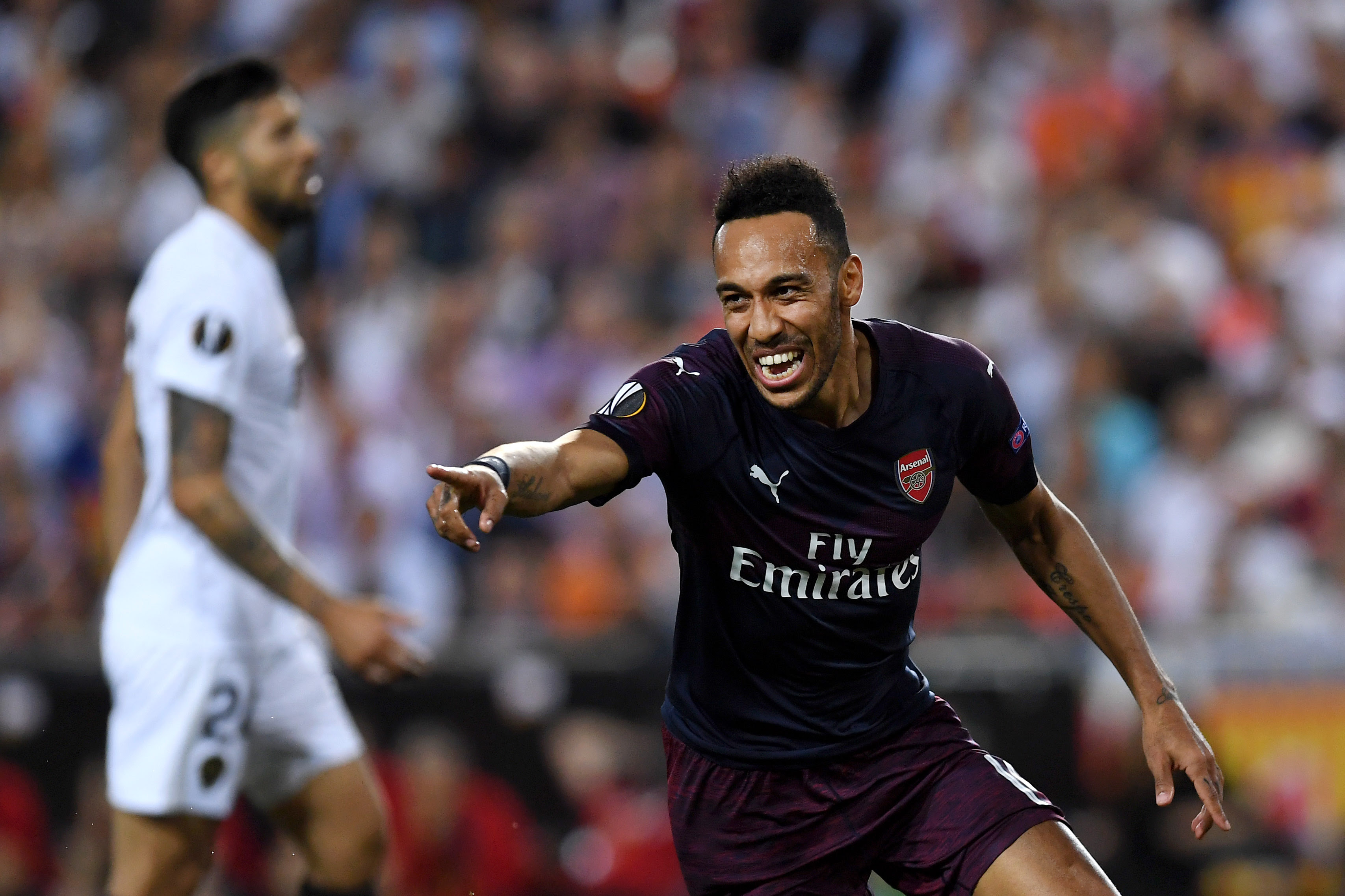Hattrick hero Aubameyang seals Arsenal's spot in the Europa League Final. (Photo courtesy:AFP/Getty)