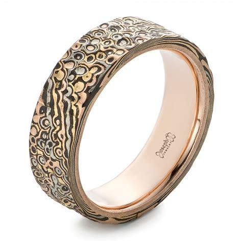 Custom Black Diamonds and Hammered Rose Gold Men's Wedding