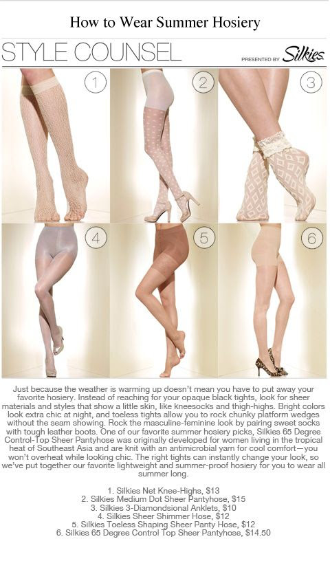 Just because the weather is warming up doesn't mean you have to put away your favorite hosiery. Instead of reaching for your opaque black tights, look for sheer materials and styles that show a little skin, like kneesocks and thigh-highs. -- How To Wear Summer Hosiery