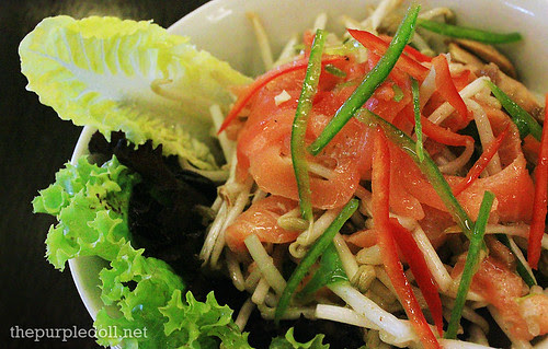 Asian Spiced Cured  Salmon on Beansprouts and Mushroom Salad