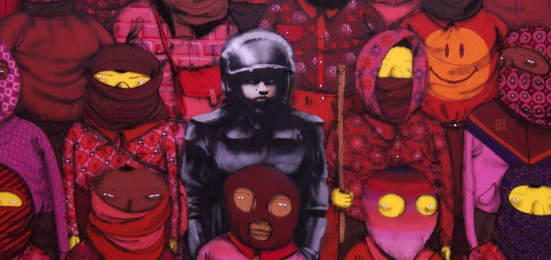 Obra de Banksy com a colaboração dos grafiteiros brasileiros Gêmeos, em sua passagem por New York