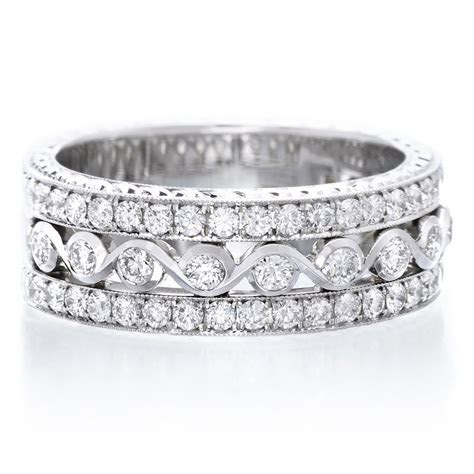 18K White Gold Three Row Diamond Ring   Long's Jewelers