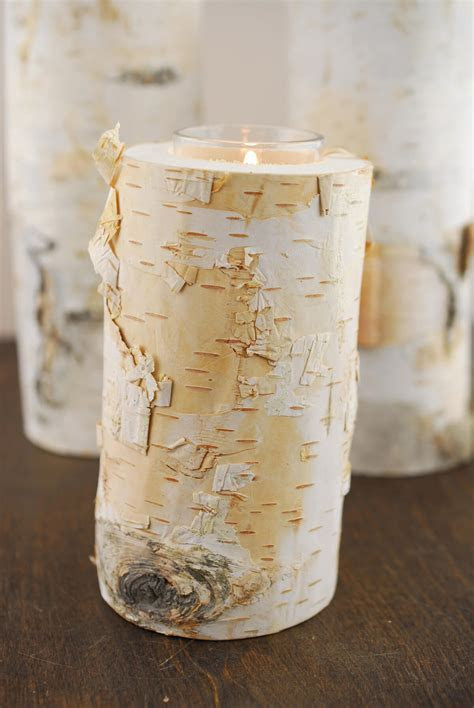 """6"""" Natural Birch Tree Branch Candle Holders with Candle"""