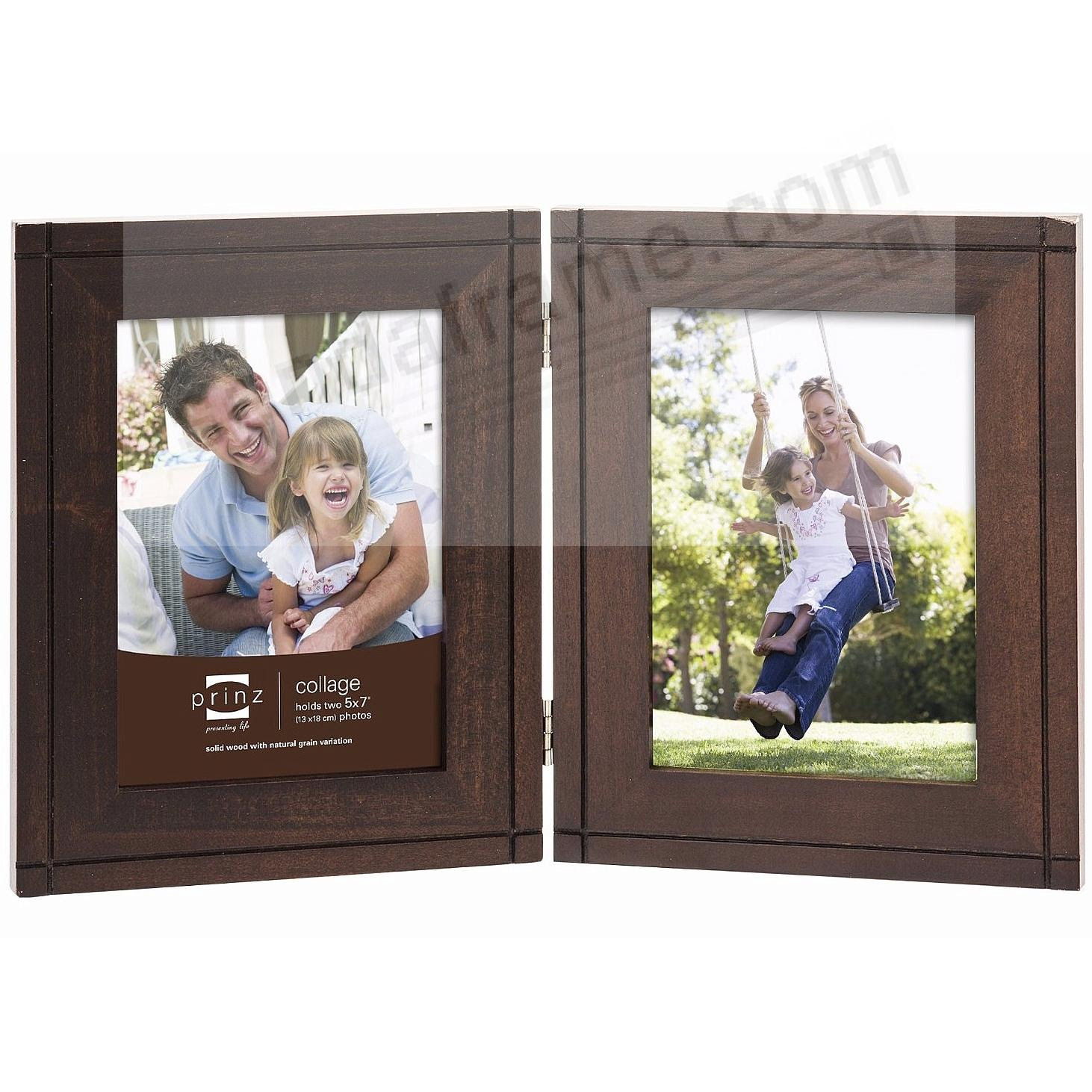 Dryden Expresso Stained Hinged 5x7 Double By Prinz Picture Frames