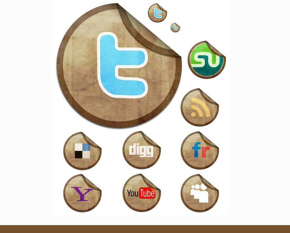 Sticky Social Networking Icon Set
