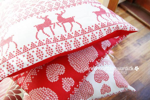 Festive tea towel cushions