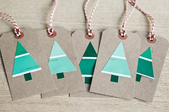 Use paint chips to make gift tags.  Christmas Hacks
