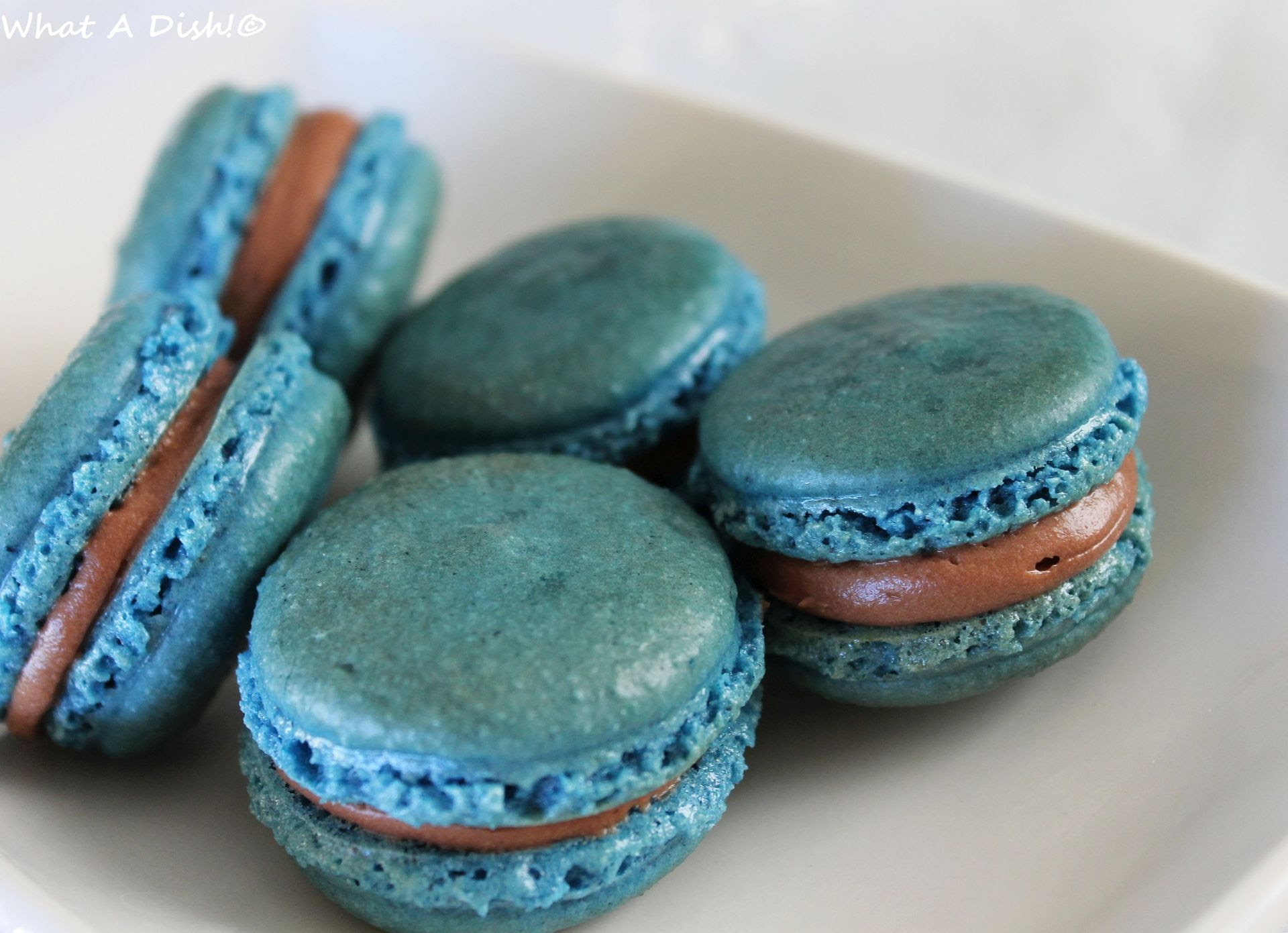 Blue Macaroons w/Chocolate Cream Cheese Filling