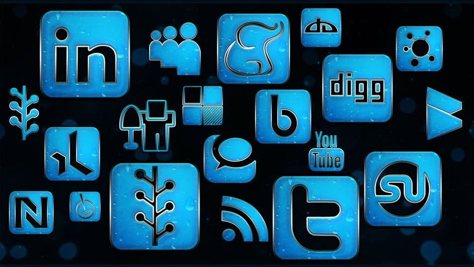 154 Blue Chrome Rain Social Networking Icons