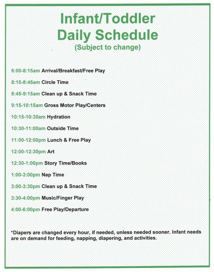 Toddler Daily Schedule For Daycare