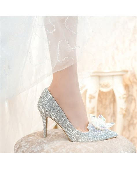 Glitter Crystal Red Low Heel Bridal Shoes With Floral Bow