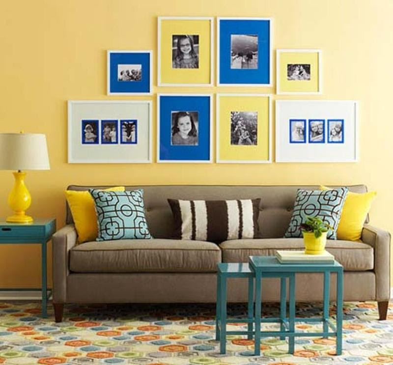20 Charming Blue and Yellow Living Room Design Ideas - Rilane