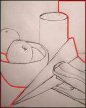Desenhar o espaço negativo em torno dos objetos.