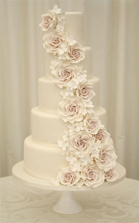 Elegant and regal rose wedding cake.   Cakes & Dessert