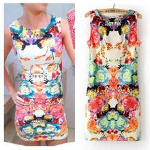 Print Sexy Slim Women Summer Dress 2014 New Fashion O-Neck Novelty Casual Mini Dresses Vestidos 4616(China (Mainland))