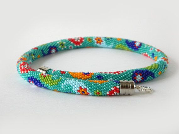 READY TO SHIP Bead Crochet Necklace Paisley Bead by LGreenBeads, $46.00