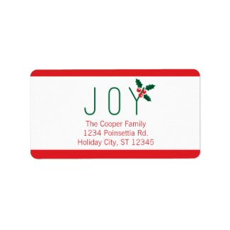 Simple Joy Holiday Photo Card Address Label