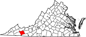 Map of Virginia highlighting Smyth County